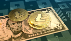 Fond brillant de crypto-devise de Litecoin illustration libre de droits