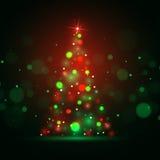 Fond brillant de Noël avec des lumières d'arbre de Noël Photo stock