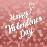 Fond brillant de Saint Valentin de bokeh de coeurs Carte romantique Élément de lettrage Photos libres de droits
