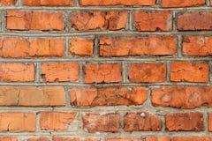Fond, brique rouge, maçonnerie, coutures grises de ciment images libres de droits