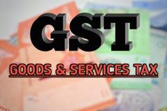 Fond brouillé avec le texte de GST Photo stock