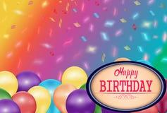 Fond brouillé coloré de confettis avec des ballons de couleur et endroit pour le texte illustration libre de droits