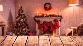 Fond brouillé d'un salon décoré pour Noël combiné avec la neige en baisse clips vidéos