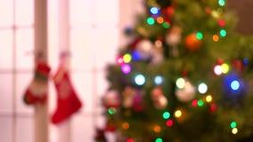 Fond brouillé de nouvelle année avec miroiter des lumières banque de vidéos