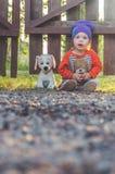 Fond brouillé, enfant à la barrière, avec un chien de jouet Image stock