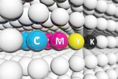 Fond brouillé par concept de CMYK illustration stock