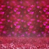Fond brouillé par résumé avec le bokeh de coeurs Le concept du jour du ` s de Valentine Images stock