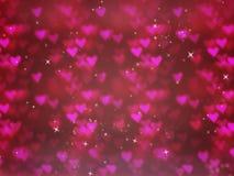 Fond brouillé par résumé avec le bokeh de coeurs Le concept du jour du ` s de Valentine Photos stock