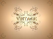 Fond brun clair de vintage avec un ornement floral au centre illustration stock