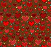 Fond brun de coeurs rouges Photo libre de droits