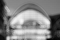 Fond buiding de bokeh de sphère noire et blanche Photographie stock libre de droits