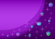 Fond. Cadres de cadeau sur la violette Image libre de droits