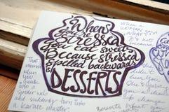 Fond calligraphique d'effort et de desserts image stock