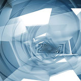 Fond carré abstrait bleu, spirales d'imagination Photographie stock libre de droits