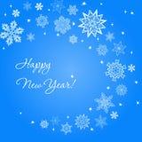 Fond carré bleu-clair de nouvelle année avec des flocons de neige Photos stock