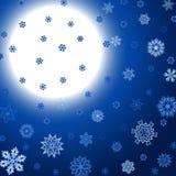 Fond carré bleu d'hiver avec la lune et les flocons de neige Photos stock