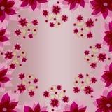 Fond carré floral de couleur rose décorative avec des coeurs Images libres de droits