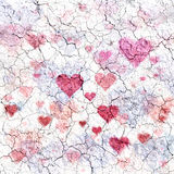 Fond cassé criqué de coeurs d'amour Image libre de droits