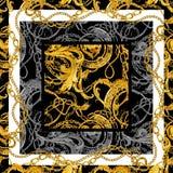 Fond ? cha?nes d'or baroque Coeur d'or Conception d'amour Bijoux de luxe illustration stock