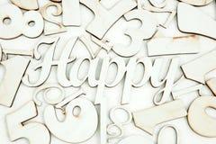 Fond chaotique des nombres de zéro à neuf et orthographier heureux Fond avec des numéros Textures des nombres illustration stock