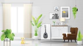 Fond chaud et lumineux de salon avec des meubles dans le style rustique moderne illustration libre de droits