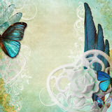 Fond chic minable de vintage avec le papillon Images libres de droits