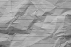 Fond chiffonn? de papier de carnet, fond blanc de texture de lettre photos stock