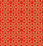 Fond chinois de modèle de la géométrie de fleur d'étoile de filigrane de fenêtre de vintage sans couture d'or Photo stock