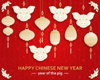 Fond chinois de nouvelle année avec le porc stylisé créatif illustration libre de droits