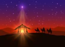 Fond chrétien avec l'étoile de Noël illustration stock