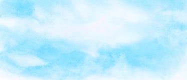 Fond clair d'aquarelle de couleur de bleu de ciel L'aquarelle a peint la toile texturis?e de papier pour la conception de cru, l' images stock