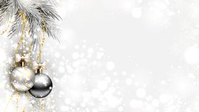 Fond clair de Noël avec les boules argentées de soirée illustration de vecteur