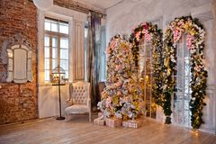 Fond classique d'intérieur de Noël blanc photographie stock