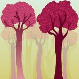 Fond coloré élégant avec des arbres Images libres de droits