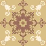 Fond coloré abstrait décoratif, modèle floral géométrique carré avec le cadre fleuri de dentelle, ornement ethnique tribal Images libres de droits