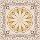 Fond coloré abstrait décoratif, modèle floral géométrique carré avec le cadre fleuri de dentelle, ornement ethnique tribal Photos stock