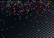 Fond coloré abstrait de confettis sur le fond transparent Images stock
