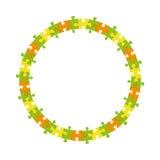 Fond coloré abstrait de vecteur de roue de cadre de cercle de puzzle denteux Images stock