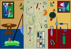 Fond coloré abstrait, formes géométriques de fantaisie, 3 salles avec les peintures 17 -263 Image stock