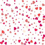 Fond coloré avec des confettis de coeur Salutation de jour de valentines Photographie stock libre de droits