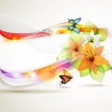 Fond coloré avec des fleurs Photo libre de droits