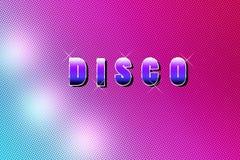 Fond coloré avec des lettres de disco Images libres de droits