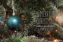 Fond coloré avec l'arbre de Noël décoré Images libres de droits