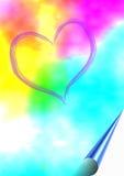 Fond coloré avec le coeur Photo libre de droits
