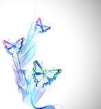 Fond coloré avec le papillon d'aquarelle et la vague abstraite Image libre de droits