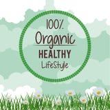Fond coloré avec le paysage de fleur de marguerite avec le logo circulaire du mode de vie sain naturel de cent pour cent illustration de vecteur