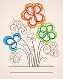 Fond coloré avec les fleurs abstraites Image stock