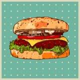 Fond coloré avec un hamburger Photographie stock libre de droits
