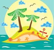 Fond coloré d'été, carte avec la paume deux Image stock