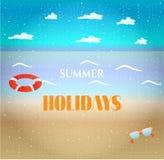 Fond coloré d'été, carte avec la plage, mer Image libre de droits